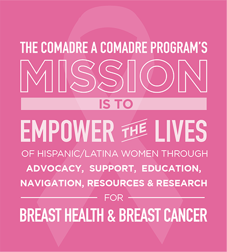 The Comadre a Comadre program's mission is to empower the lives of hispanic/latina women through advocacy, support, education, navigation, resources, and research for breast health and breast cancer.